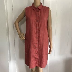 Adrienne Vittadini Red Linen Shift Dress Large